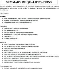 Summary Of Qualifications Resume Examples Resume Directory