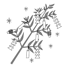 かわいい七夕の笹飾り 白黒無料 イラスト 商用フリー無料の