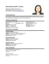Simple Resume Examples Examples Resumes Resume Example For Sample File Curriculum  Vitae