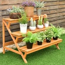 garden rack. Image Is Loading 3-Tier-Garden-Wooden-Step-Ladder-Plant-Pot- Garden Rack W