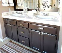 painting bathroom cabinets chocolate brown. builder\u0027s grade bathroom makeover with painted cabinets love this color the paint is valspar\u0027s latex \u0027betsy ross house brown\u0027 in soft gloss painting chocolate brown i