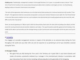 music management contract business management contract template new music manager contract