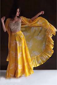Lehenga Design In Yellow Colour Georgette Lehenga Choli In Yellow Colour