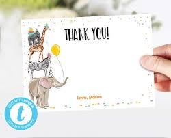 Safari Animals Template Thank You Card Party Animals Thank You Note Wild Safari