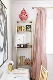 stylish office decor. Feminine Home Office With Pink Curtains And Gold Accents Stylish Decor F