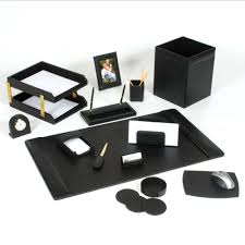 home office desk accessories uk leather set piece black gold funky modern