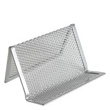 mesh business card holder silver