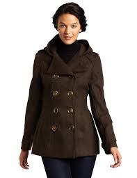 miss sixty womens double ted hooded peacoat