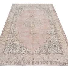 7x10 ft 210x305 cm beige brown light faded pink color overdyed vintage
