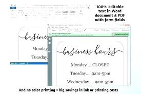 Opening Hours Sign Template Trading Open Business