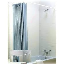 white portable telescopic curved shower curtain rod with moen tension bronze