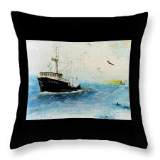Nautical Chart Pillows Exodus Ak Trawl Fish Boat Nautical Chart Art Throw Pillow