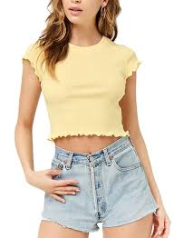Light Yellow Crop Top Shop Forever 21 Short Sleeves Knit Crop Top Light Yellow