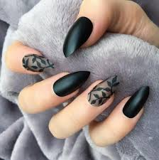 40 most trendy and attractive night black nails art acrylic nails matte nails