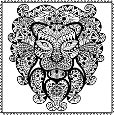 Abstract Tribal Lion Coloring Page For