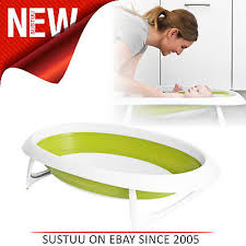 boon collapsible baby toddler infant bath tub green white 2 position