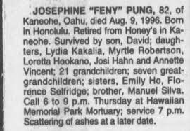 Obituary for Josephine pung (Aged 82) - Newspapers.com