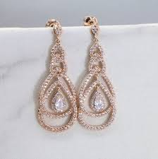 rose gold bridesmaid chandelier earring bridal drop earrings wedding e004