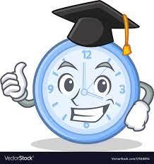 Graduation clock character cartoon style Vector Image