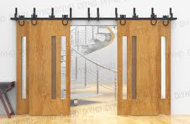 horseshoe bypass sliding barn wood closet door rustic black barn door track hardware for 4 doors in doors from home improvement on aliexpress com alibaba