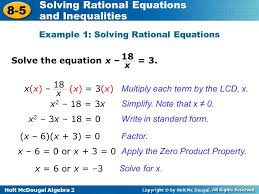 example 1 solving rational equations