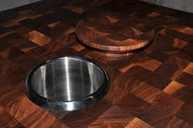 walnut end grain wood countertop with matching refuse chute cover maple end grain wood countertop cutting board