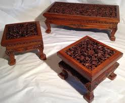 vintage thai oriental asian solid teak hand carved coffee table set asian oriental