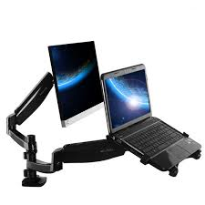 loctek dual arm desk monitor and laptop mount with gas spring arms