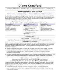 Sample Caregiver Resume Resume Work Template
