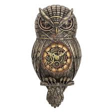owl wall clock steampunk housewares