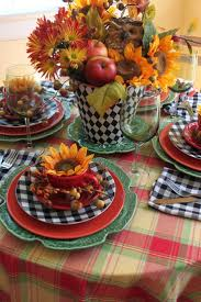 Image Search Results for tablescapes sunflowers - the black and white plaid  adds pop to this place setting