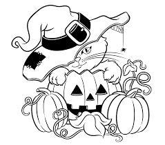 Halloween Cat With A Hat Free Coloring Page • Animals, Halloween ...