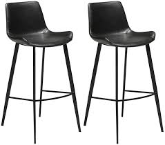 hype vintage black leather bar stool with black legs pair furntastic