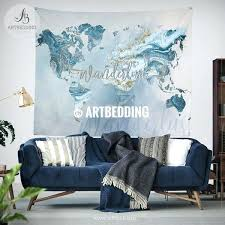 world wall decor ocean blue and gold wander world map wall tapestry summer vibes marble world world wall decor world map