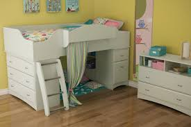 Wood Low Loft Bed With Storage Drawers Underneath In White In Childrens  Storage Beds For Small