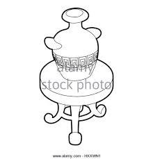 round table clipart black and white. round coffee table with an antique vase icon - stock image clipart black and white