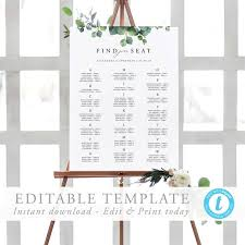 Alphabetical Seating Chart Sign Template Editable Eucalyptus Greenery Wedding Guest List Seating Plan Printable Seating Poster Templett 04