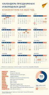 Сколько дней казахстанцы отдохнут в 2020 году