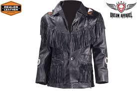 men s western style leather jacket with fringe beads