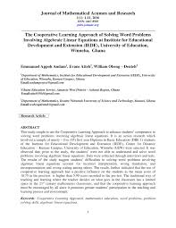 pdf the cooperative learning approach of solving word problems involving algebraic linear equations at institute for educational development and extension