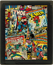 classic marvel comic covers comes to life on your wall with this great 3d lenticular poster featuring a collage style print of vintage imagery starring the