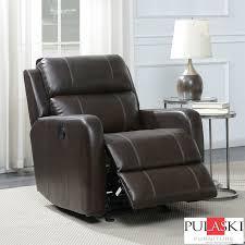 pulaski brown leather power glider recliner chair