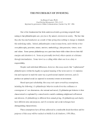 research paper the psychology of investing