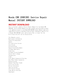 honda cbr 250 r rr service repair manual instant honda cbr 250r rr service repairmanual instant instant this is the most complete