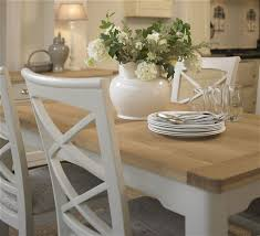 Elegant Mark Webster Padstow Painted Rectangular Extending Dining Set With 4 Cross  Back Chairs With Cream Seat