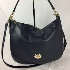 Coach Turnlock Hobo in Navy Pebble Leather