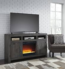 maison contemporary charcoal wood tv stand with glass stone fireplace insert
