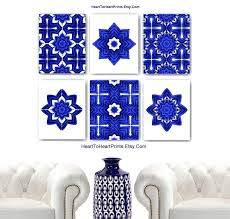 wall art decor abstract geometric navy cobalt blue white prints royal on royal blue and white wall art with wall art decor abstract geometric navy cobalt blue white prints