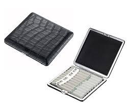 visol zaire crocodile patterned black leather cigarette case