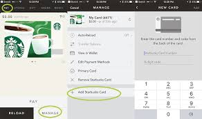 you can do this by logging into starbucks on your puter or by using the app on your iphone pay manage add starbucks card